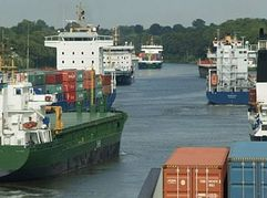 Traffic on the Kiel Canal